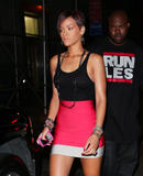 Rihanna looks red hot in a see-through top exposing her nipples (nipple ring!) and tight miniskirt as she parties in NYC.