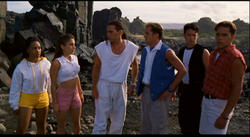 Tommy The White Ranger speaks to a group of Power Rangers