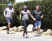 Scarlett Johansson Out Jogging With Sean Penn and Owen Wilson in Malibu on April 10, 2011